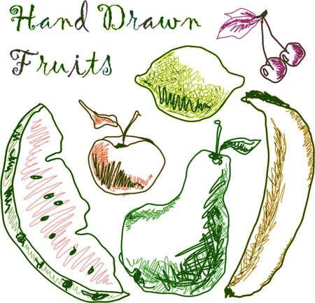 hand drawn fruits photo