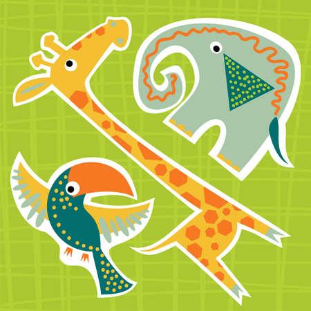 zvířata: samolepka baby zvířata Ilustrace