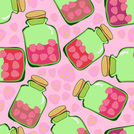 strawberry jam pattern Vector