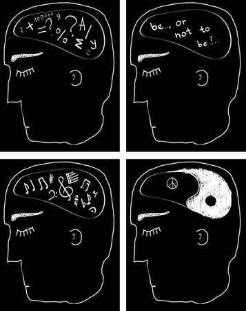 cartoon math: thinking man