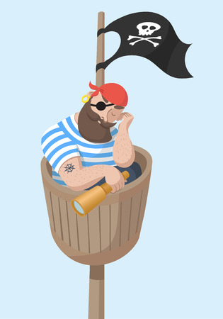 Cartoon Sleeping Hipster Pirate Sitting in Wooden Crows Nest. Illustration