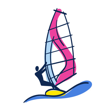 Bright Doodle Illustration Of Windsurfer On Windsurfing Board With Sail And Big Wave Hand Drawn