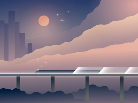 futuristic: Future Transport Landscape Cartoon Illustration. Modern City with Futuristic Railway. Architecture with Nature. Retrofuturism Design