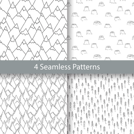stumps: Nature Seamless Pattern Collection in Black and White. Set of Repetitive Textures with Hand Drawn Mountains, Firs and Stumps.