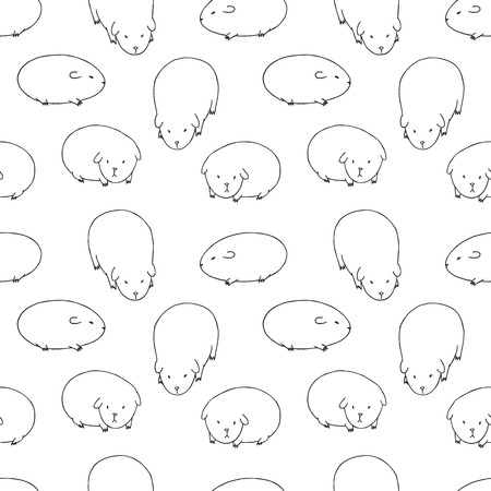 cavie: Black and White Cute Zoo Seamless Pattern. Repetitive Texture with Hand Drawn Guinea Pigs. Vector Ink Doodle Baby Background. Cartoon Cavy Animal Characters Ornament