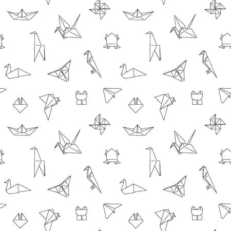Zwart-wit Leuke Kinderen Naadloos Patroon. Herhaalde Textuur Met Handgetekende Origami Dieren En Voorwerpen. Vector Inkt Doodle Baby Achtergrond. Cartoon Ornament