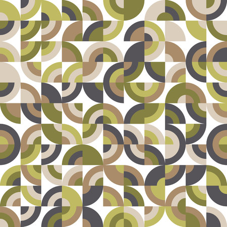 Spring Abstract Seamless Pattern. Repeating Fashion Ornament with Quadrants. Vector Illustration