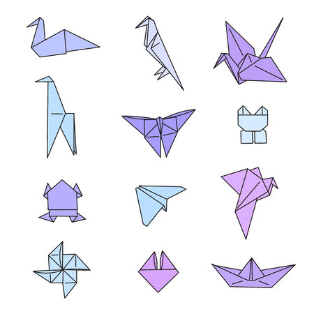 Origami Animals Hand Drawn Doodle Vector Set