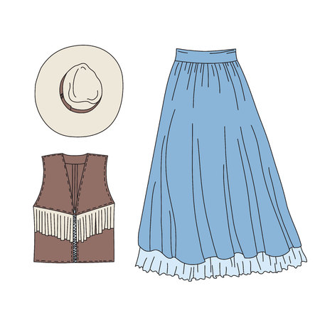 Wild west woman fashion clothes elements set. Cowgirl doodle objects isolated on white background. Hand drawn vector illustration with hat, vest and skirt