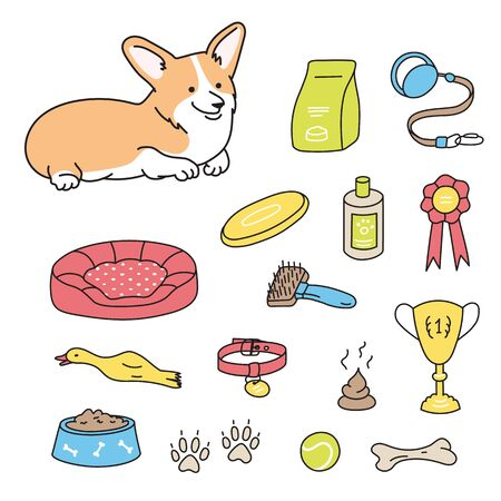 Set of pet shop products icons isolated on white background. Accessories for dogs with lying welsh corgi puppy. Doodle hand drawn vector illustration. Feed, toys, balls, collar Çizim