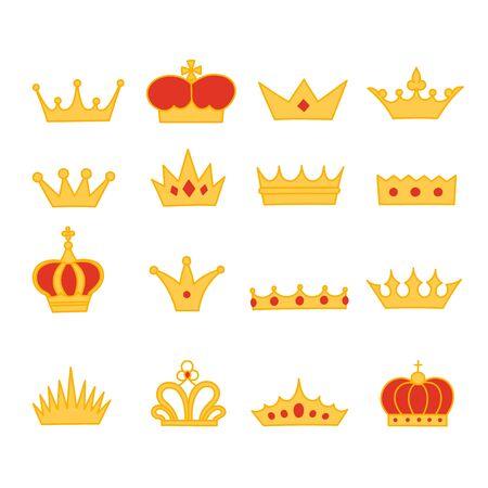 Collezione di icone in stile cartone animato corona. Doodle piatto raccolta di oggetti simbolo royalty. Illustrazione vettoriale Vettoriali