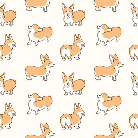 Cartoon pet dog animal doodle seamless pattern. Cute vector graphic tile background. Card, textile, fabric design