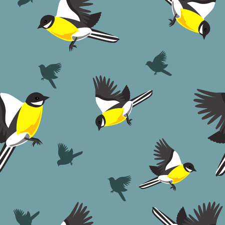 tomtit: Seamless vector pattern with tomtits