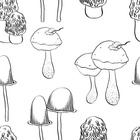 morel: graphic vector seamless mushrooms pattern