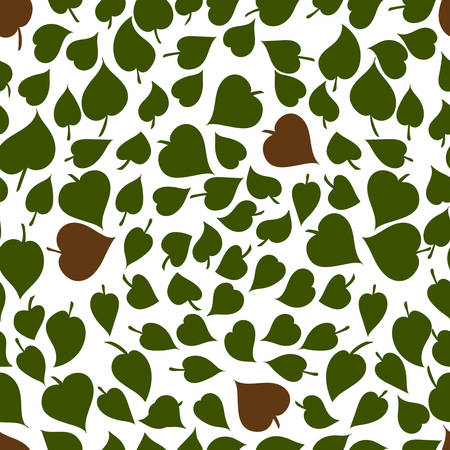Heart shaped leaves vector seamless pattern