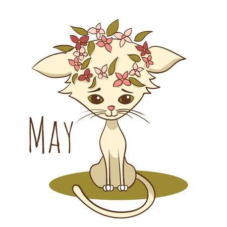 Cartoon vector cat for calendar month May Illustration