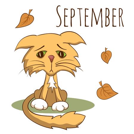 Cartoon vector cat for calendar month september