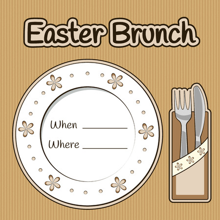 Easter brunch invitation vintage card with a plate and fork with knife in napkin in vector EPS8