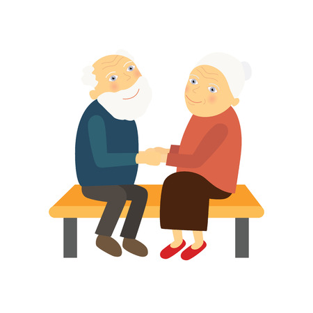 hold hands: the lovers are elderly people sit on a bench and hold hands, vector illustration Illustration
