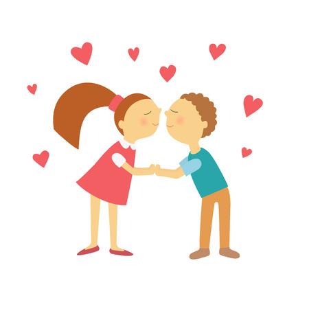 young girl: young boy and girl love each other Illustration