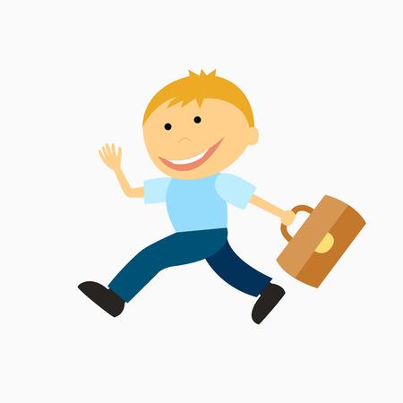 gazing: happy boy with briefcase running to school
