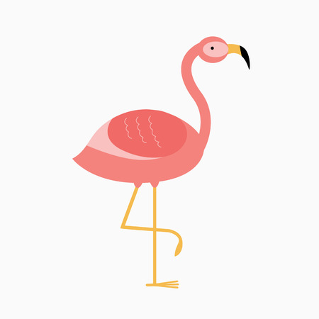 illustration pink flamingo. Exotic bird. Cool flamingo decorative flat design element. Lovely flamingo