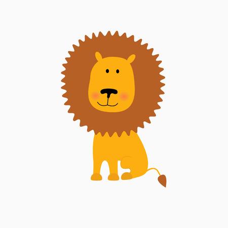 illustration of Lion cartoon. Isolated on white background.