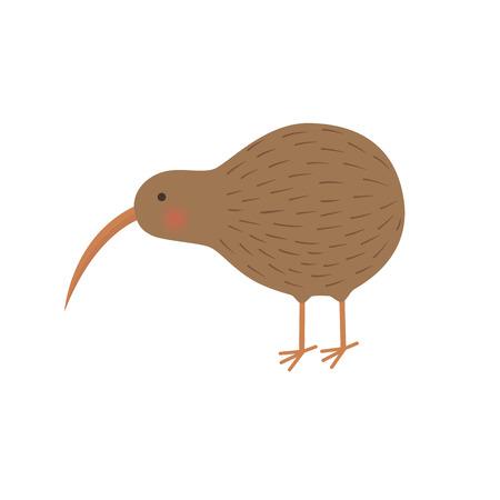 flightless: Cartoon animal - kiwi - illustration for the children -isolated on white background
