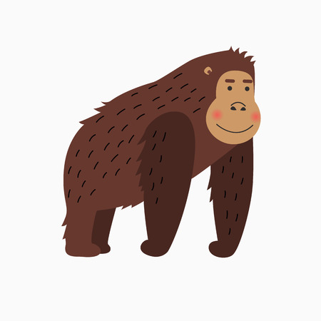 Happy gorilla cartoon isolated on white background