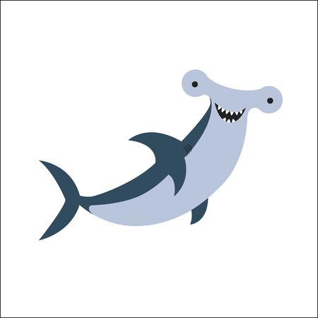 pez martillo: Cartoon Vector Illustration of Hammerhead Shark Fish Sea Life Animal Vectores
