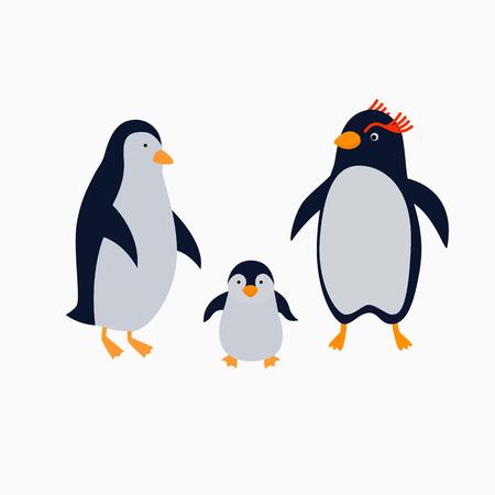 Family of penguins. Illustration for children in flat style