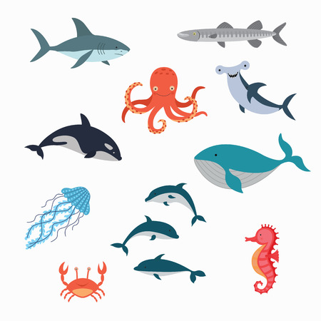 Marine Life Vector Design Illustration. set fish 向量圖像