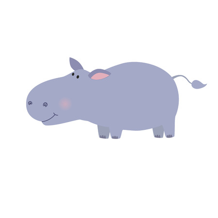 Hippo animal wildlife mammal, zoo wild africa cute animal nature fat african hippo. Vector illustration for the children