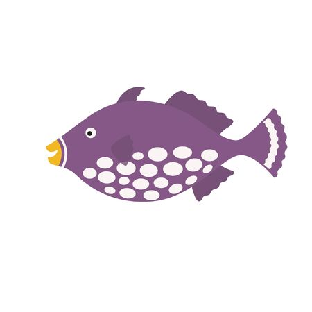 triggerfish: Clown Tiggerfish, exotic fish tropical marine fish. vector