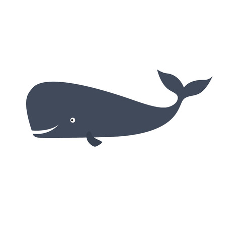 Happy sperm whale. Cachalot. Isolated on white background Illustration