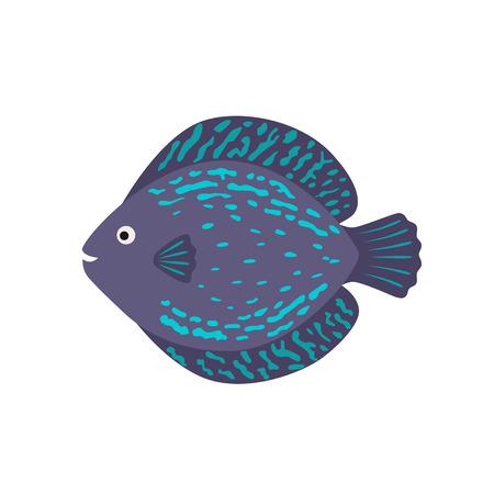 cichlid: The aquarium fish discus blue violet. vector illustration in flat style
