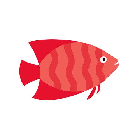 pink fish. striped aquarium exotic fish tropical marine fish. vector