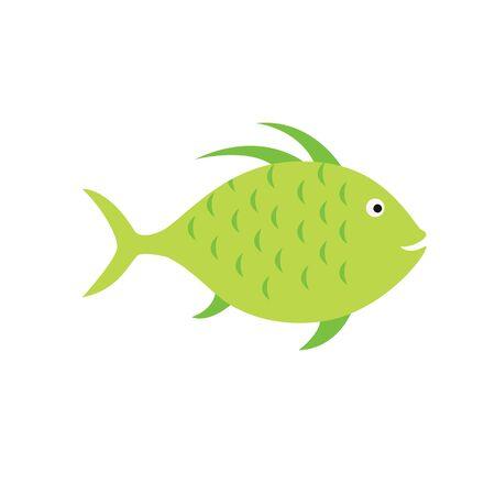 fishtank: green fish. striped aquarium exotic fish tropical marine fish. vector