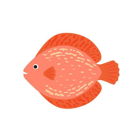 cichlid: The aquarium fish discus pink. vector illustration in flat style