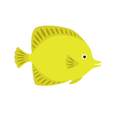 lemon yellow fish. bright ocean fish. isolated on a white background. Vector.