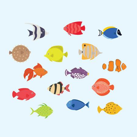 Cute fish vector illustration icons set. Tropical marine, aquarium, colorful fish. Sea color flat design.