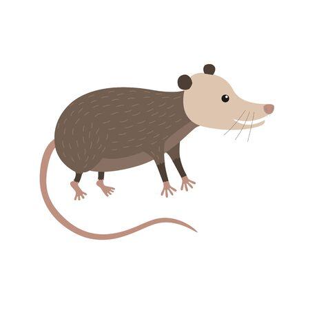 opossum: Clipart illustration of cute cartoon opossum