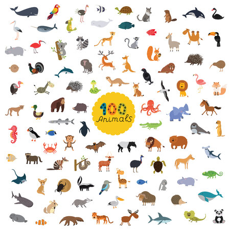 great set of a hundred animals on the planet. vector illustration for children isolated on white background