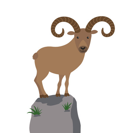 Cartoon mountain goat on a mountaintop vector illustration for children