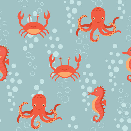 Fabulous nautical pattern with a fun orange sea horse, crab, octopus. Stock Photo