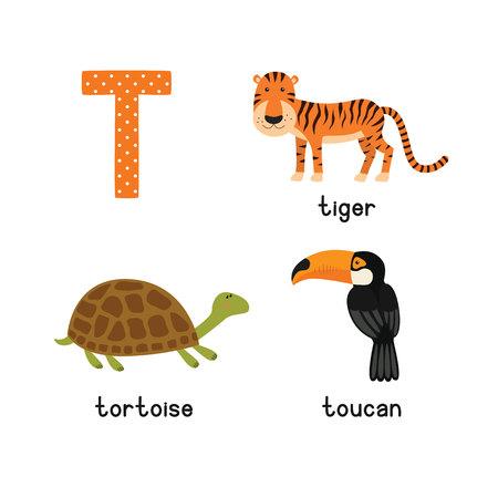 Schattig dierentuin alfabet in vector. T brief. Grappige tekenfilm dieren: Tijger, Toekan, Schildpad