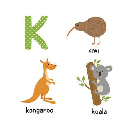 Cute zoo alphabet in vector. K letter. Funny cartoon animals: kangaroo, koala, kiwi bird Stok Fotoğraf - 76760045