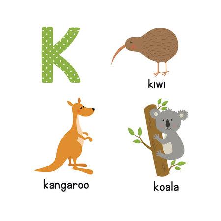 Cute zoo alphabet in vector. K letter. Funny cartoon animals: kangaroo, koala, kiwi bird Illustration