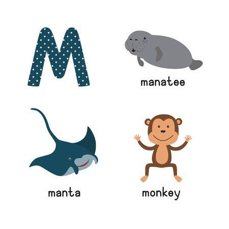 Cute zoo alphabet in vector.M letter. Funny cartoon animals: manatee, manta, monkey Stock Photo