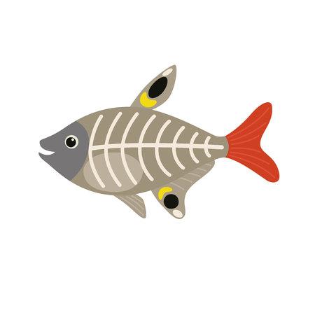 X-ray vis dierlijke stripfiguur geïsoleerd op een witte achtergrond. Vectorillustratie voor kinderen Stock Illustratie